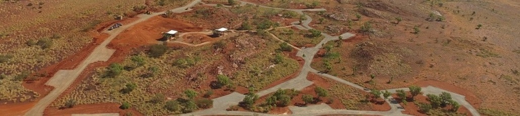 Super cropped aerial view of campground for booking page